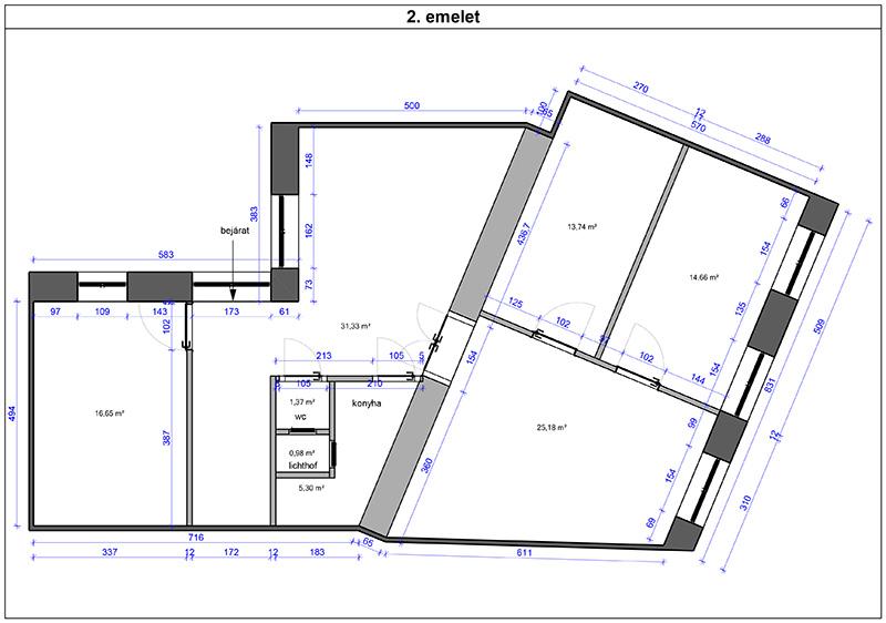 Alaprajz, 2. emelet
